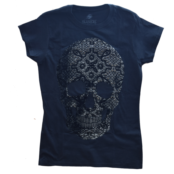 Playera dama calavera diamante